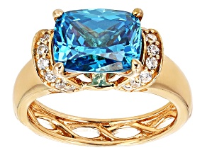 Blue And White Cubic Zirconia 18k Yellow Gold Over Sterling Silver Ring 5.91ctw