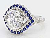 Lab Created Sapphire & White Cubic Zirconia Rhodium Over Sterling Silver Ring 6.19ctw
