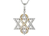 White Cubic Zirconia Rhodium & 18k Yellow Gold Over Sterling Silver Pendant 2.62ctw