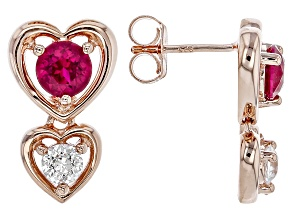 Lab Created Ruby & White Cubic Zirconia 18k Rose Gold Over Silver Earrings 2.38ctw