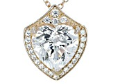 White Cubic Zirconia 18k Yellow Gold Over Sterling Silver Pendant With Chain 10.10ctw