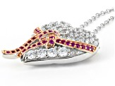 Lab Created Ruby & White Cubic Zirconia Rhodium & 18k Rose Gold Over Silver Pendant
