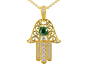 Green And White Cubic Zirconia 18k Yellow Gold Over Silver Pendant With Chain 2.57ctw
