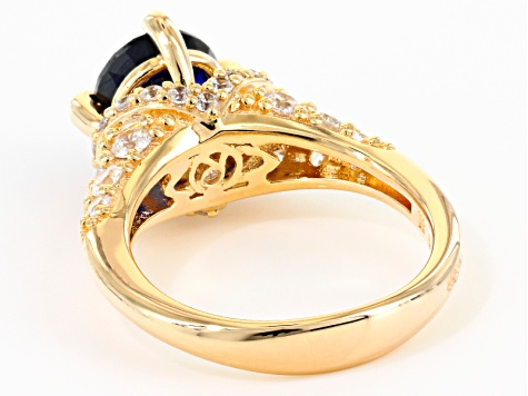 Lab Created Sapphire & White Cubic Zirconia 18k Yellow Gold Over Silver Ring 4.30ctw