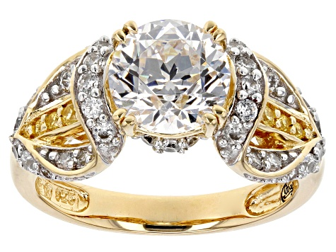 white & yellow cubic zirconia 18k yellow gold over silver ring