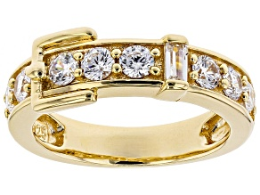 white cubic zirconia 18k yellow gold over sterling silver ring 1.60ctw