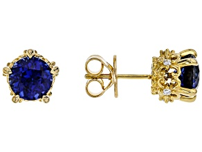 lab created sapphire & white cubic zirconia 18k yellow gold over silver earrings