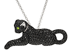 Black Spinel Sterling Silver Cat Brooch/Pendant With Chain 2.98ctw