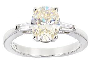 White Fabulite Strontium Titanate and White Zircon  Sterling Silver Ring 2.65ctw