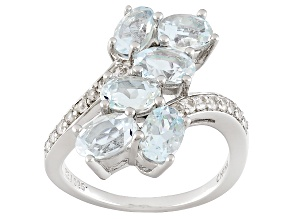 Blue Aquamarine Sterling Silver Ring 2.32ctw