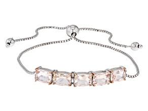 Pink Morganite Sterling Silver Sliding Adjustable Bracelet 3.40ctw