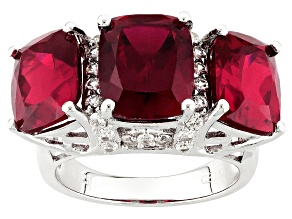 Red Lab Created Ruby And White Zircon Sterling Silver Ring 10.47ctw