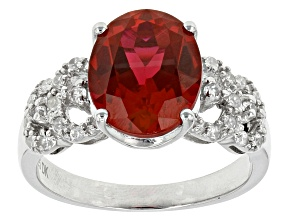 Red Lab Created Ruby Sterling Silver Ring 3.10ctw