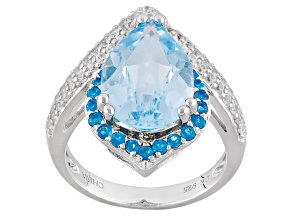 Sky Blue Topaz Sterling Silver Ring 5.66ctw