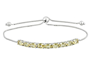 Yellow Brazilian Beryl Sterling Silver Sliding Adjustable Bracelet 2.98ctw