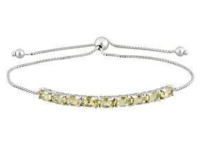 Yellow Brazilian Beryl Sterling Silver Sliding Adjustable Bracelet 2.98ctw