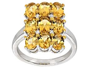 Yellow Brazilian Beryl Sterling Silver Ring 3.06ctw