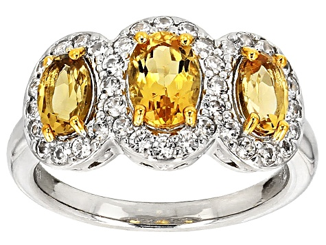 Yellow Brazilian Beryl Sterling Silver Ring 1.96ctw