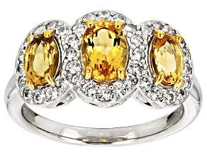 Yellow Brazilian Beryl Sterling Silver Ring 1.96ctw