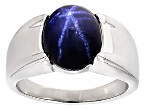 Blue Star Sapphire Sterling Silver Ring 4.49ct
