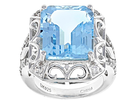 Sky Blue Topaz Sterling Silver Ring 11.18ctw