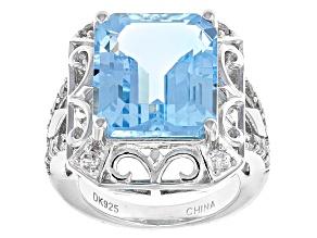 Sky Blue Topaz Sterling Silver Ring 11.18ctw