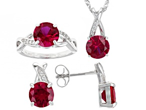Red Lab Created Ruby Rhodium Over Sterling Silver Jewelry Set 9.67ctw