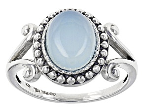 Blue Chalcedony Rhodium Over Sterling Silver Ring