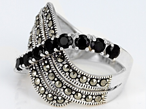 Black Spinel Sterling Silver Ring 1.30ctw