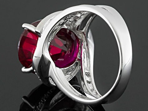 Red Lab Created Ruby Rhodium Over Sterling Silver Ring 11.80ctw