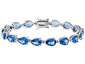 Blue Lab Created Spinel Sterling Silver Bracelet 22.50ctw