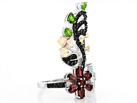 Multi-Gem Sterling Silver Floral Ring 4.85ctw