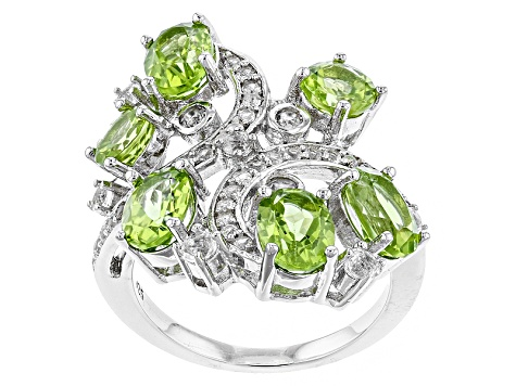 Green Peridot Sterling Silver Ring 5.29ctw