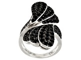 Black Spinel Sterling Silver Bypass Ring 3.28ctw