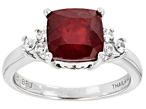 Mahaleo Ruby Sterling Silver Ring 3.77ctw