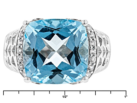 Sky Blue Topaz Sterling Silver Ring 9.22ctw