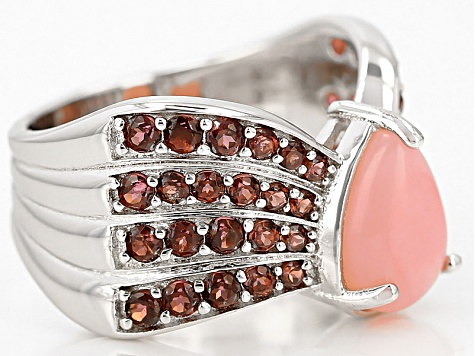 Pink Peruvian Opal Sterling Silver Ring 1.44ctw