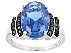 Blue Lab Created Spinel Rhodium Over Sterling Silver Ring 5.41ctw