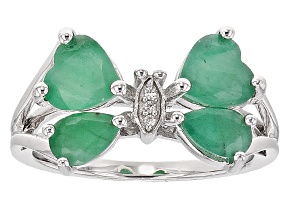 Green Emerald Sterling Silver Butterfly Ring 1.33ctw