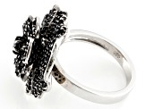 Black Spinel Sterling Silver Flower Ring 2.60ctw