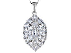 White Goshenite Sterling Silver Pendant With Chain 3.10ctw