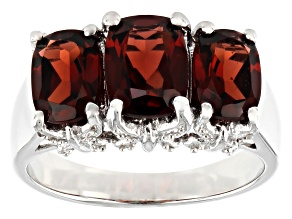 Red Garnet Rhodium Over Sterling Silver 3-Stone Ring 3.35ctw