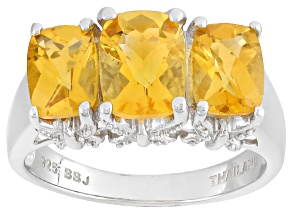 Yellow Citrine Sterling Silver Ring 3.06ctw