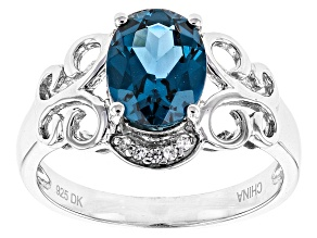 Blue Lab Created Spinel Sterling Silver Ring 1.28ctw