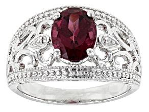 Purple Rhodolite Sterling Silver Ring 1.71ctw