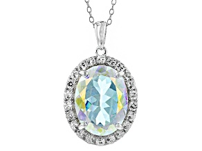 Mercury Mist(R) Mystic Topaz® Sterling Silver Pendant With Chain 10.95ctw