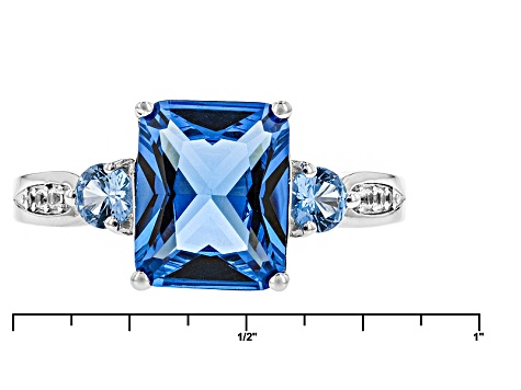 Blue Lab Created Zircon Sterling Silver Ring 3.94ctw