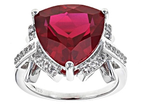 Red Lab Created Ruby Sterling Silver Ring 6.57ctw