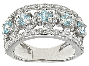 Blue Zircon Sterling Silver Ring 2.81ctw