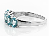 Blue Zircon Sterling Silver Ring 3.10ctw